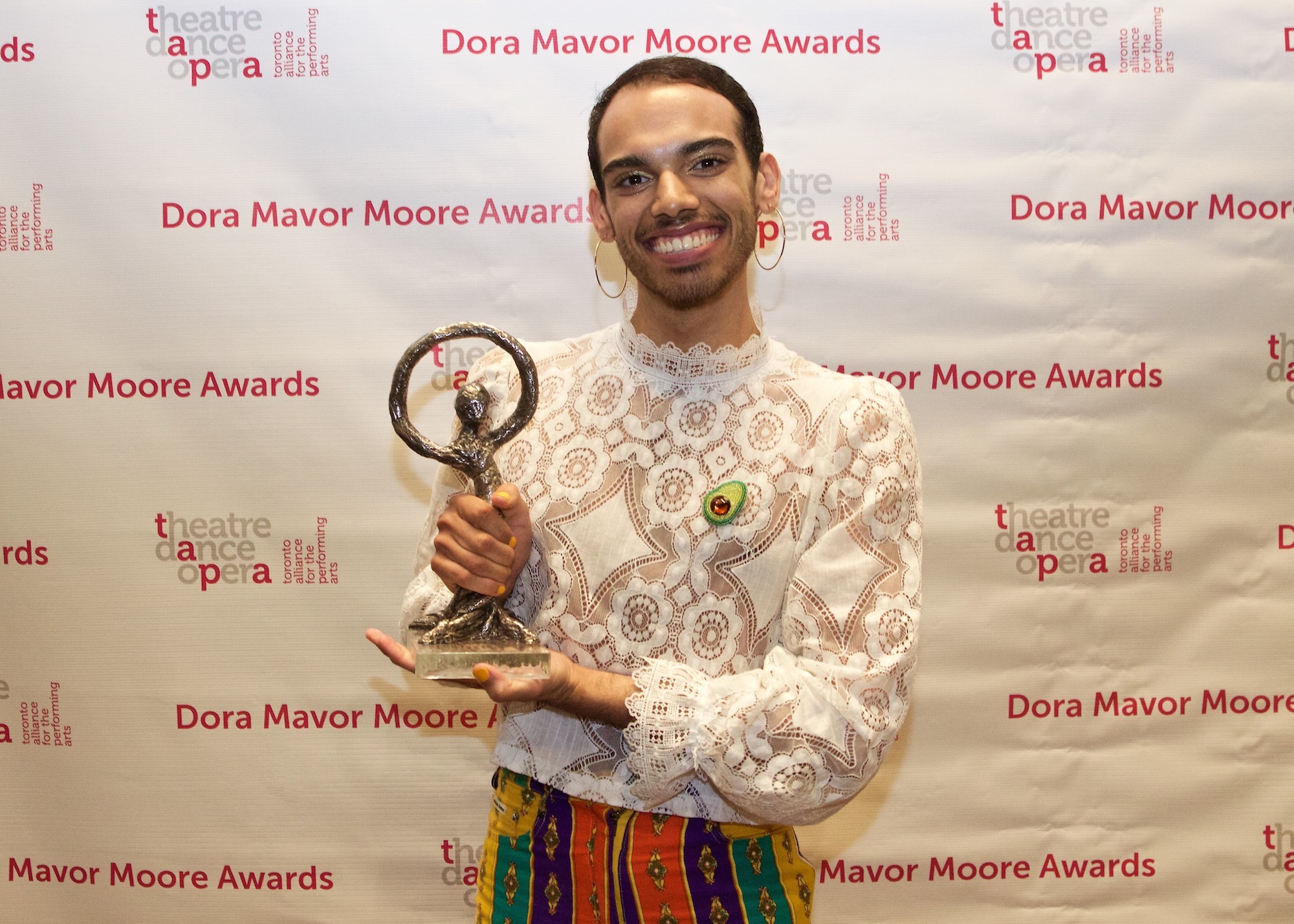 Augusto Bitter and his Dora Mavor Moore award for outstanding performance of an individual. CHICHO was also nominated for outstanding new play.