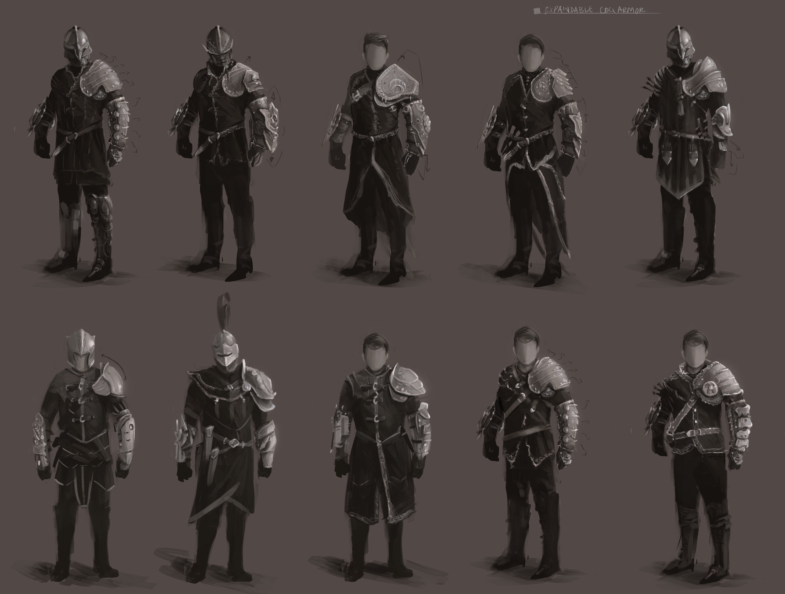 Painted value silhouettes for the cog-punk archer concept design.
