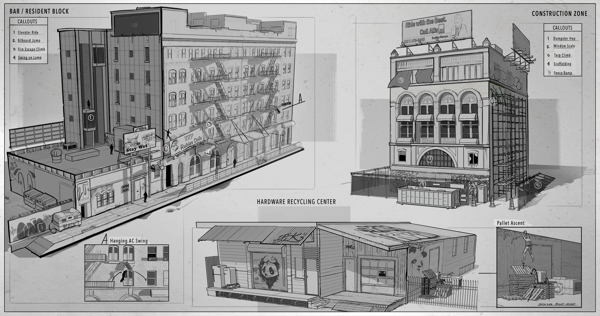 Concept sketches of different buildings in shot for Neo-noir alleyway environment.  Sketchup | Photo-overlay | Drawover