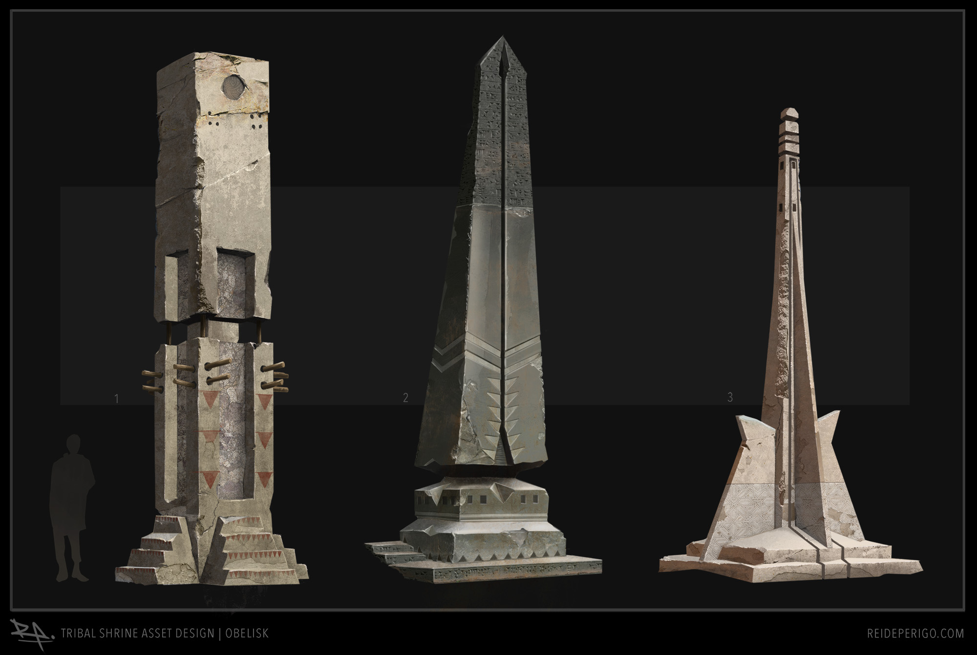 Environment asset refinement for clear design intention of shape, scale, material, and wear.