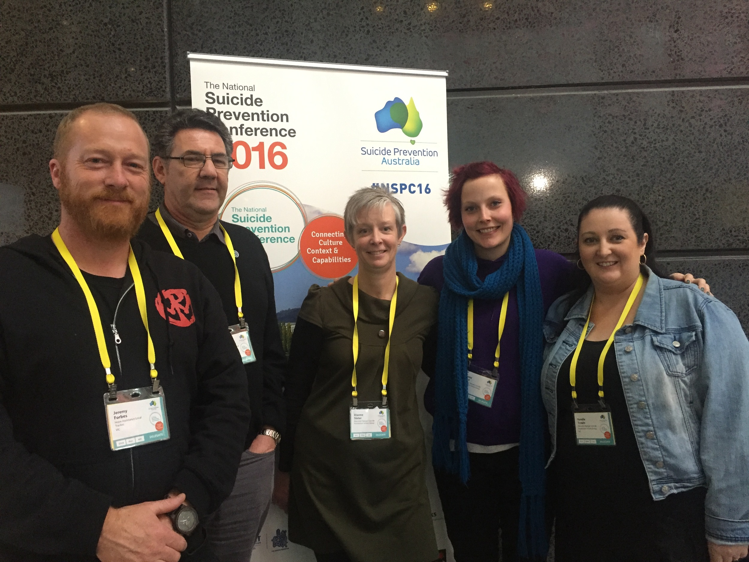 National Suicide Prevention Australia Conference participants and MRSPAG members, Jeremy Forbes, Leo Schultz, Di Slater, Lynsey Ward and Narelle Trewin, spent 4 days learning about new programs, ideas, research and building more networks for the Macedon Ranges. We thank them for committing their time, we look forward to hearing more in the coming weeks. Stay tuned!