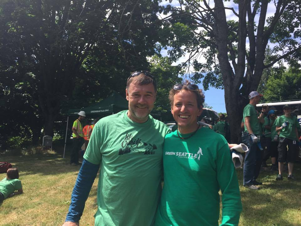 Joel with Jerry Stritzke, CEO, REI at a Leadership & Service Event in Cheasty Greenspace