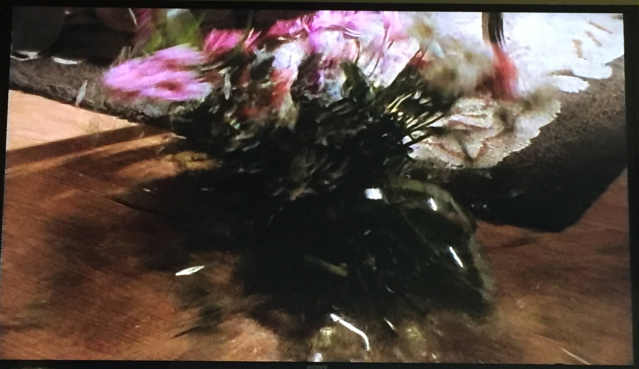 The vase as it crashes.