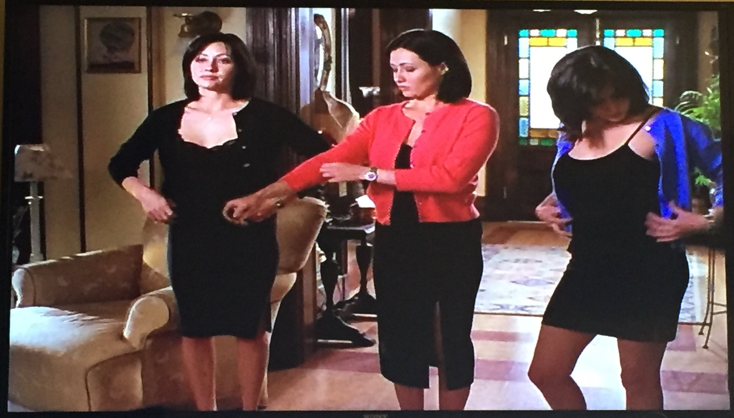 Still love that Prue Prime's skirt is mid-length, the more uptight Pink Prue's skirt is at the knee, and the more flirty Blue Prue's skirt is short and tight!