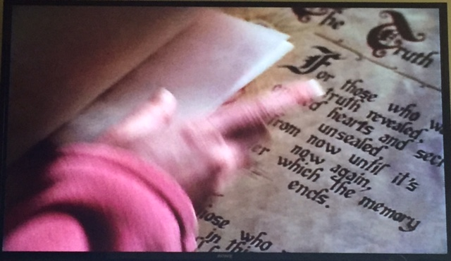 Phoebe hides that note in the Book of Shadows, right by the Truth spell that Prue used a couple episodes back!