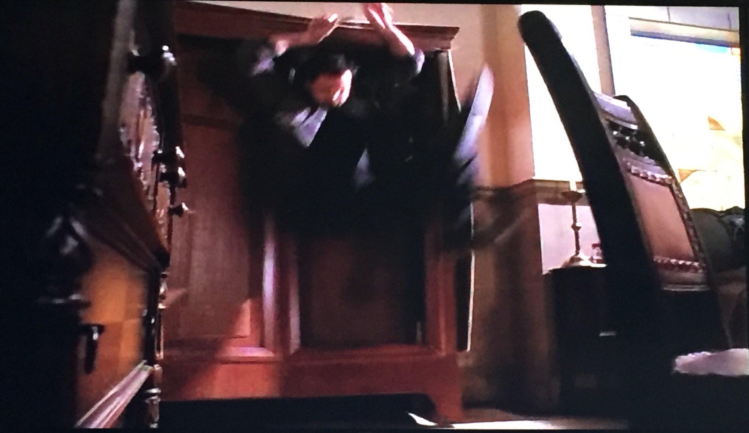 ...flies into a wardrobe...