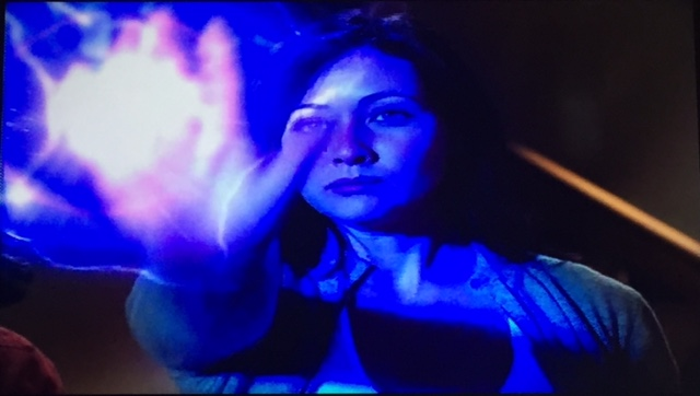 ..but, he turns and tries to kill them again. So, Prue flings his lightning back at him...
