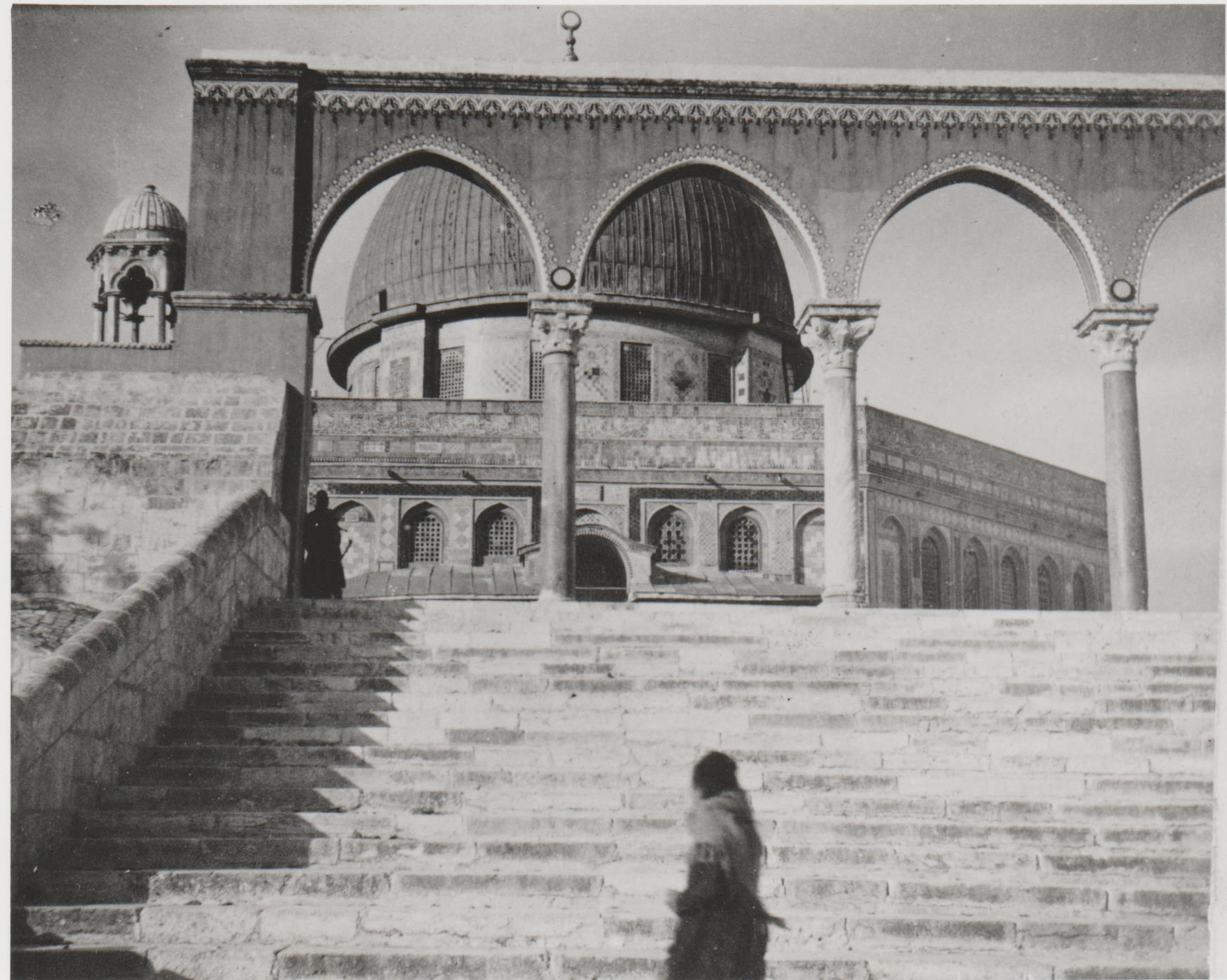 Gertrude Bell's photograph of 'the view up to the Dome of the Rock through entrance archways, AD 691', December 1899. Catalogue number A53.