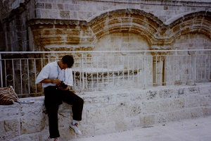 Team member Phil Supple with camera in Old City Jerusalem, summer 1990