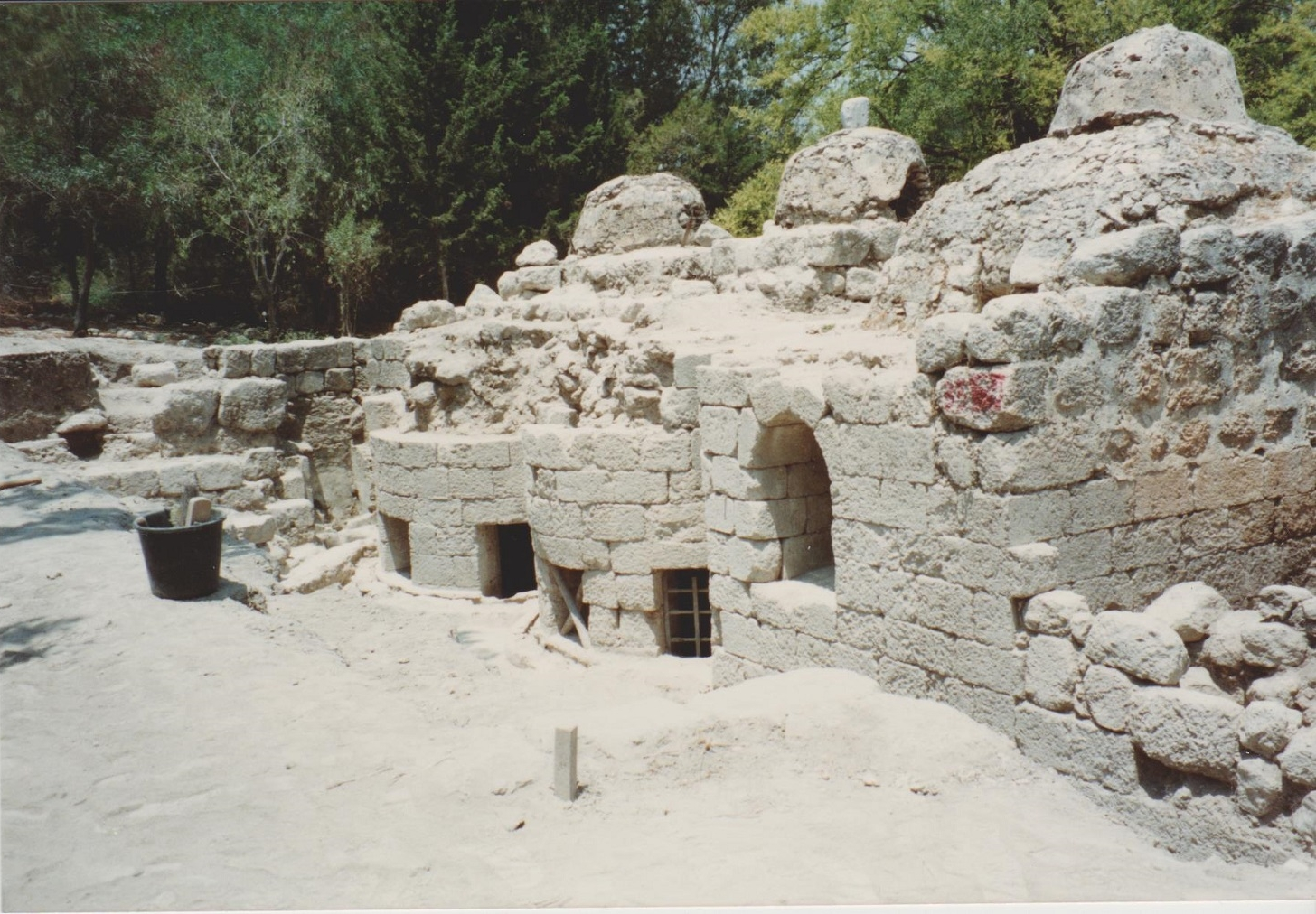 Roman and Byzantine bathhouse at Latrun, being excavated by Mordechair Gihon in 1990. Visited with Richard Harper the (then) Director of the BSAJ (British School of Archaeology in Jerusalem). Credit: Eleanor Scott