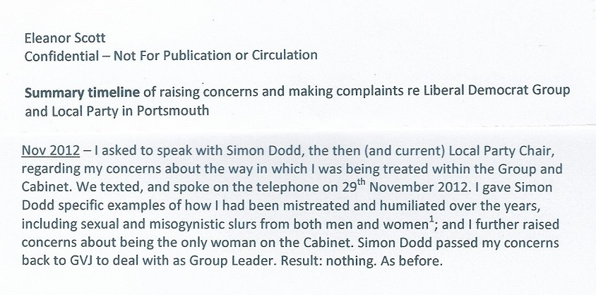 Extract from timeline supplied to the upper echelons of the Liberal Democrat Party including Tim Farron and senior investigators, as of 1st June 2014. Footnote 1 outlines the sex-in-the-men's-toilets lie, amongst other things.