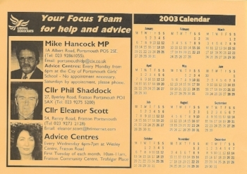 Lib Dem ward calendar, delivered to lucky Fratton residents December - January 2002-03