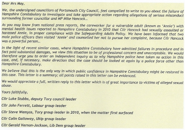 Letter sent to Theresa May and IPCC on 24th June 2015 by all five political Group Leaders, Portsmouth City Council