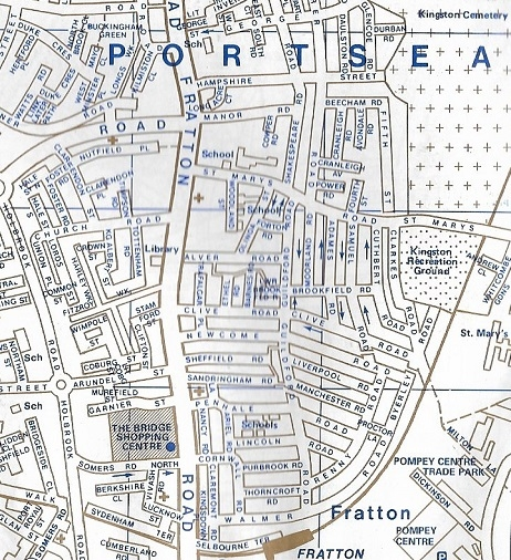 Fratton, a typical densely-packed urban environment in Portsmouth