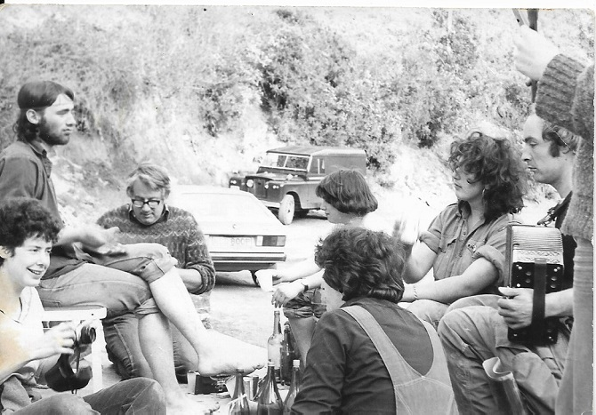 Castell Henllys dig Easter 1981. From L to R: unidentified, Andy Crockett, Hugh Foster, Alice, me, Nick, Miriam