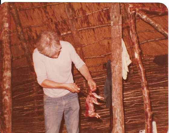 Steve (thatcher) caught, skinned and cooked rabbit