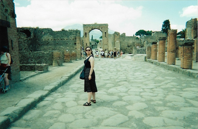 Lindsay Allason-Jones in Pompeii - we were filming there for a Discovery documentary