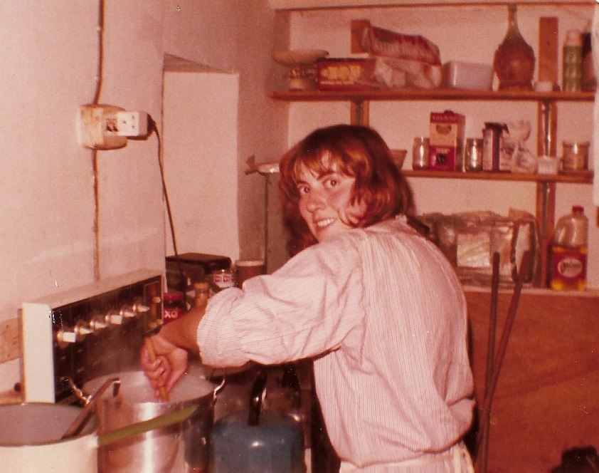Hazel Riley, professional archaeologist - and the best dig cook I ever knew. Castell Henllys, Pembrokeshire, early 1980s. Big dig, small kitchen.
