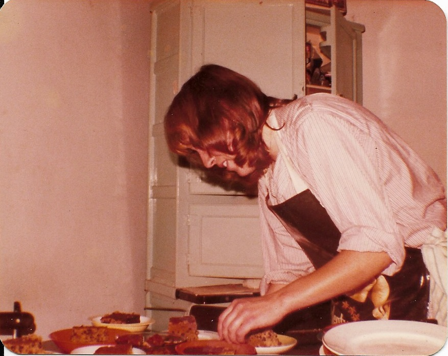 Hazel Riley, professional archaeologist and best Dig Cook I ever knew - baking vast amounts of fruit cake in some very cramped conditions