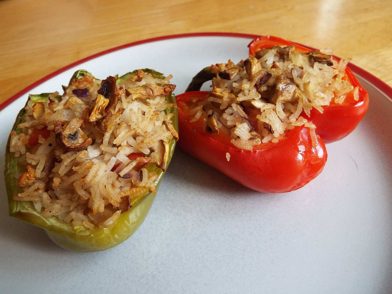 Stuffed Peppers - Cut peppers in half and de-seed them. Fill with a mix of cooked rice, mushrooms and onion. Add seasoning.Bake in the oven for about 40 minutes.You can add any other vegetables you have to hand; and if you don't want a crunchy top, place tomatoes slices over the rice.Vegan; vegetarian; gluten-free; health-aware