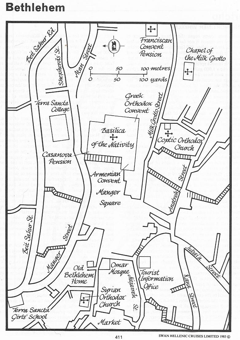 Bethlehem - Town Plan (credit: Swan Hellenic Cruise Handbook)