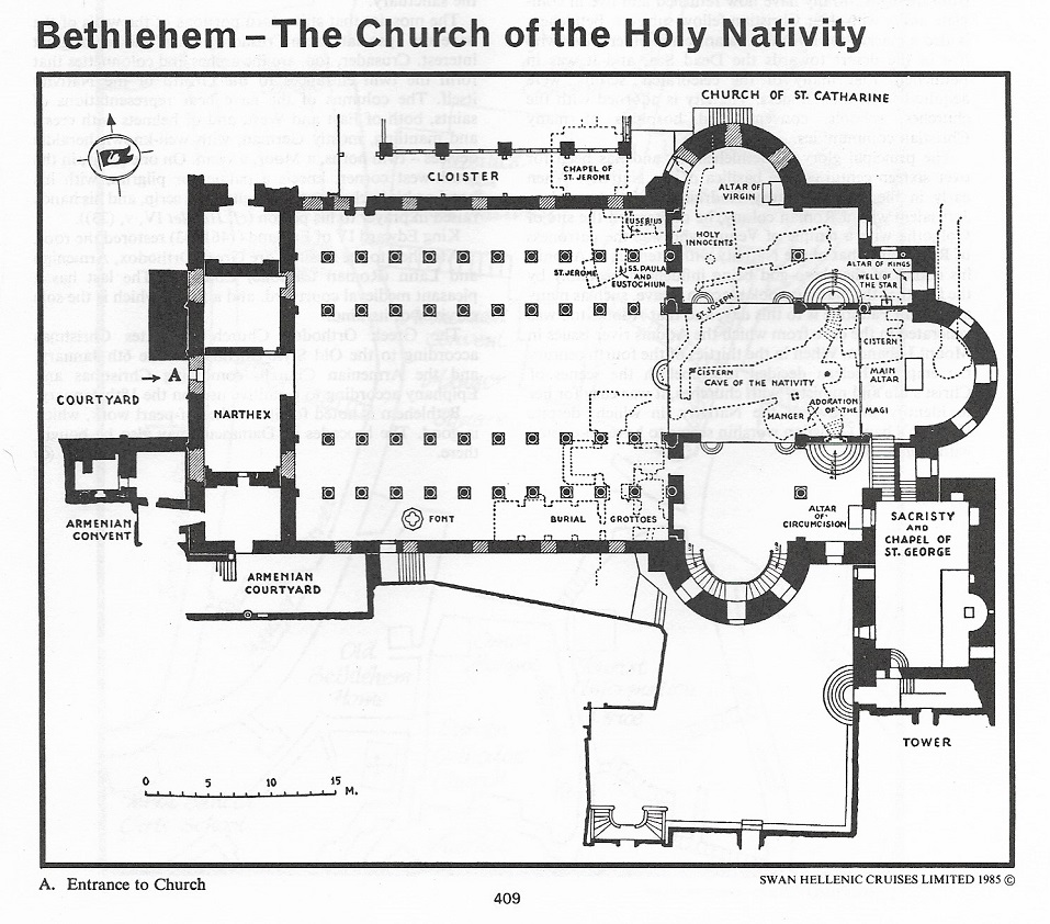 Bethlehem - The Church of the Holy Nativity (Credit: Swan Hellenic Cruise Handbook). Bell calls it the 'Basilica of Constantine', referencing its architectural style and the then believed date of construction.