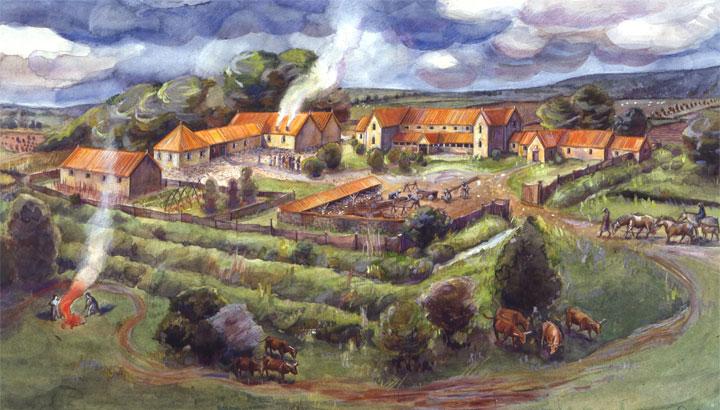 Idealised painting of an idealised type of site - Gargrave (Kirk Sink) Roman villa (credit: Historic England)