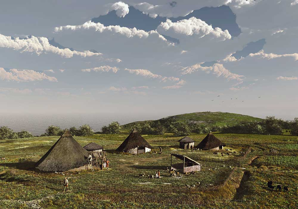 Idyllic Iron Age settlement in Kent (Credit: Canterbury Archaeological Trust, Smith Kriek Productions, drawn by Drew Smith and Mikko Kriek). What came after was a different material culture and social experience.