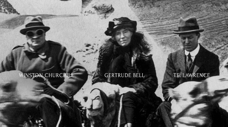 Gertrude Bell, Winston Churchill and T E Lawrence, Cairo Conference 1921 (Credits: Gertrude Bell Archive, Newcastle University; and Tony Curzon Price, openDemocracy)