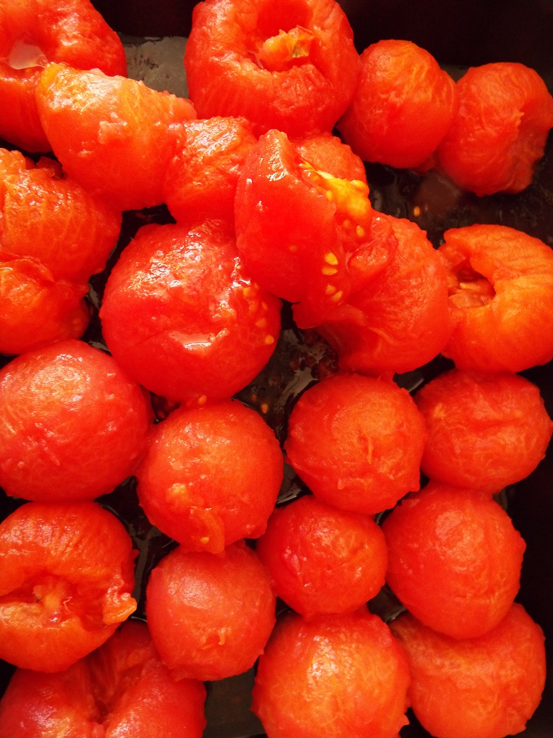 Blanched tomatoes - the skin slides off easily