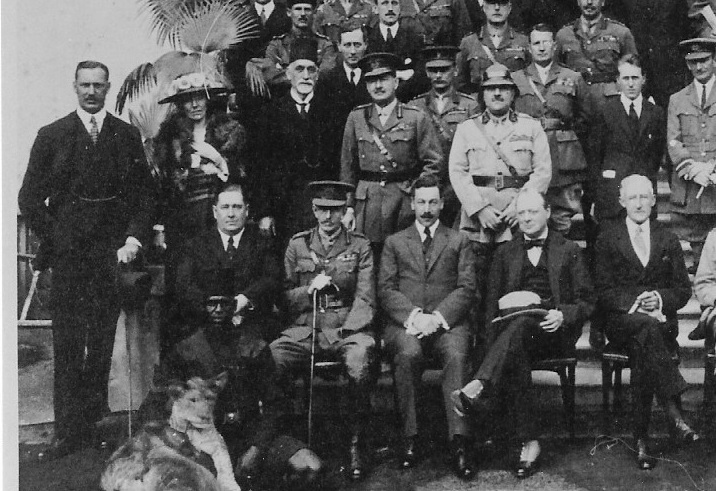 Gertrude Bell at the Cairo Conference, 1921 - delegates included Churchill (seated, hat on knee) and T E Lawrence (standing behind to his left, in mufti) (Credit: Gertrude Bell Photographic Archive, Newcastle University). Her role in the Great War, however, began in far humbler circumstances.