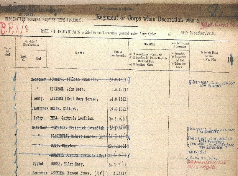 Official record of Gertrude Bell's service as a secretary in the Missing and Wounded Enquiry Dept, France, showing her entitlement to the decoration of a Star (Source: Ancestry.com)