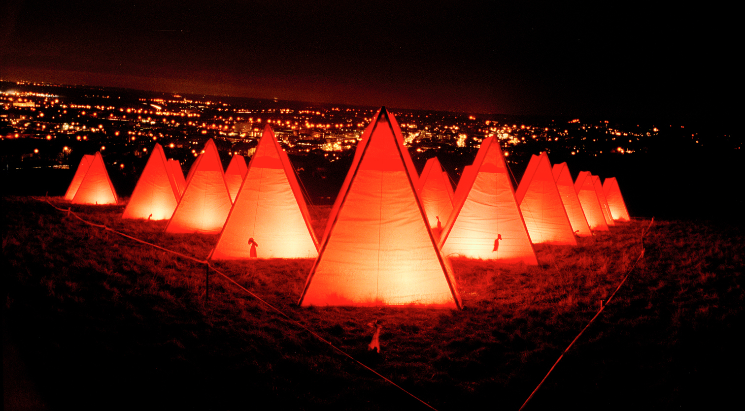 Red Tents; a contemporary sculptural light installation and landscape art celebrating International Women's Day.
