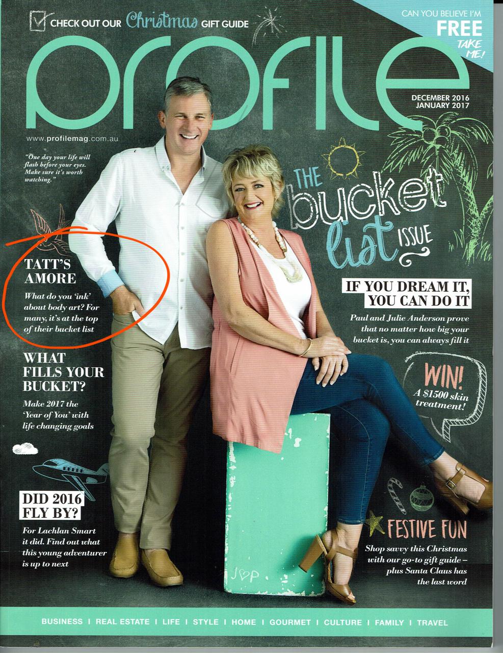 BigFish tattoo in the bucket list edition of Prifile Magazine.
