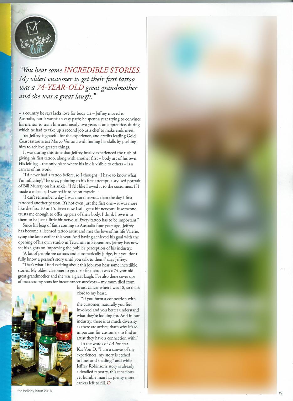 BigFish tattoo in the Buket List Edition of Profile Magazine