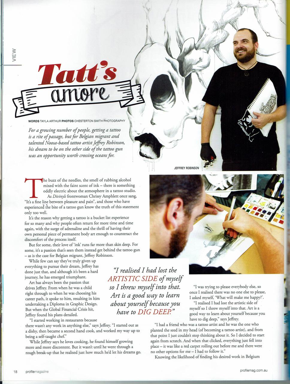 BigFish tattoo in the Bucket List edition of Prfile Magazine