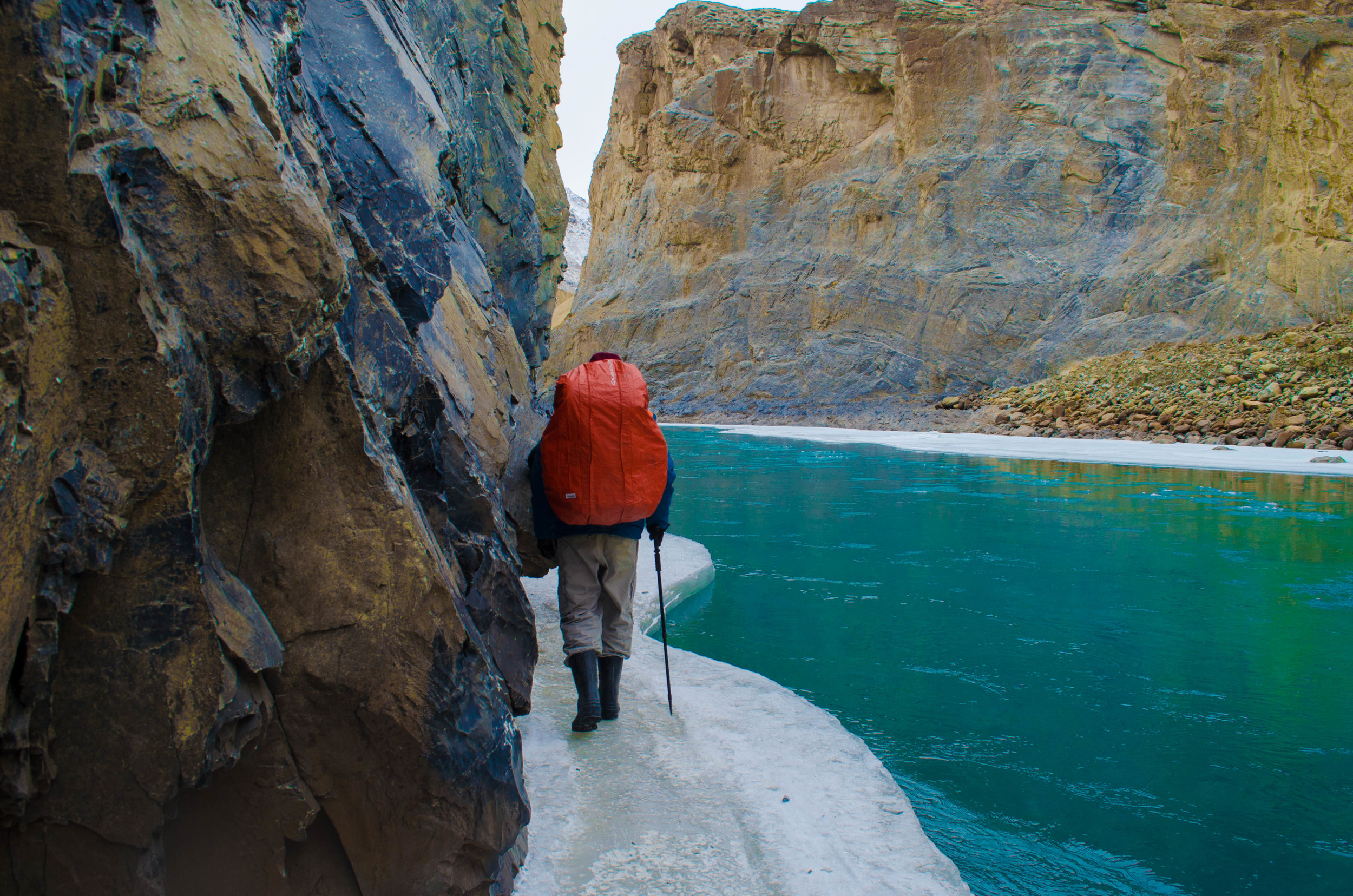 Trekking in Ladakh: One slip and that's, it you're a literally 'Olaf' from Frozen but probably not as chirpy on the chadar waters. PC: Raunak