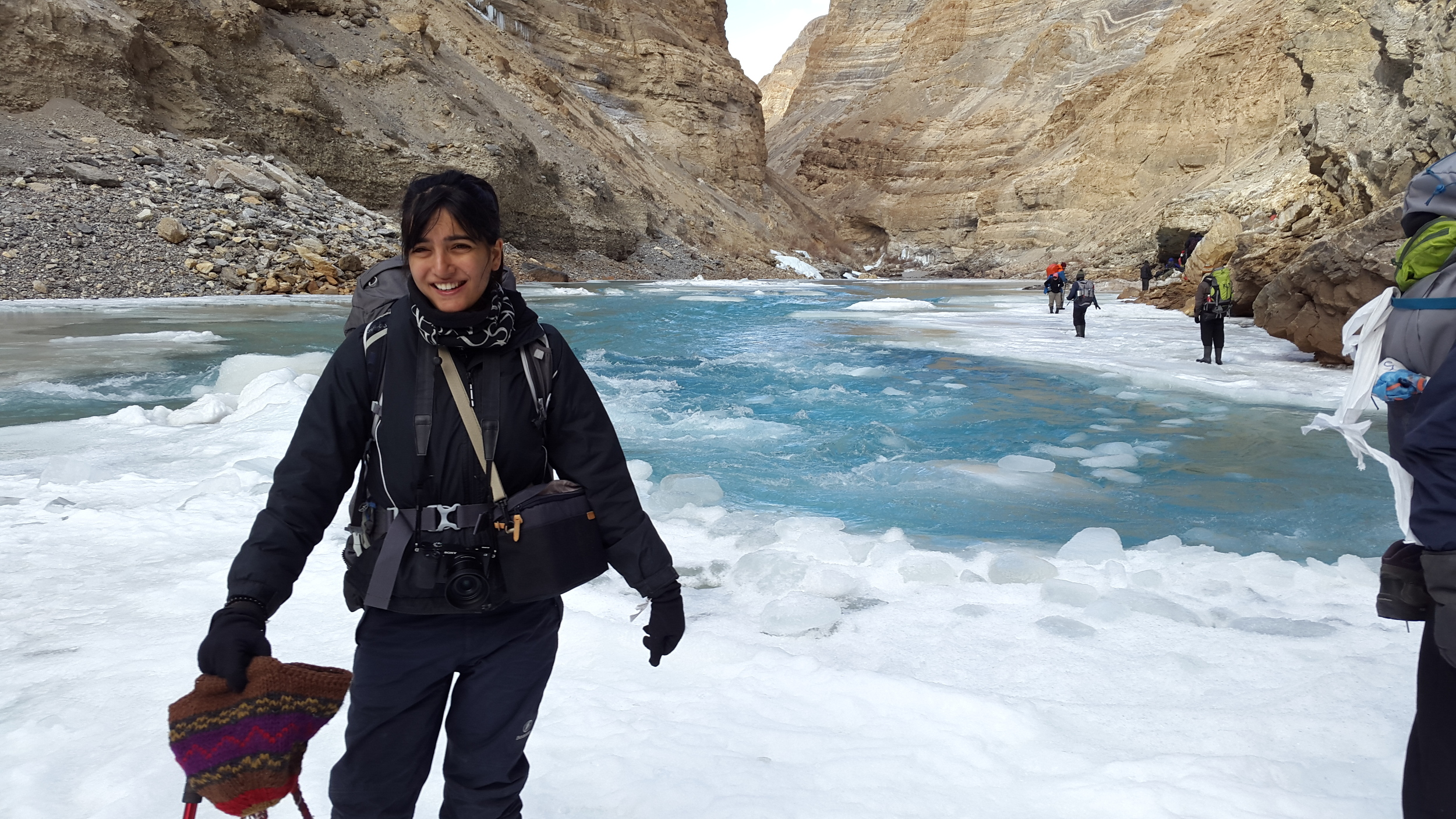 Very unflattering picture of me not knowing what to do with all these layers of clothing, protective gear and camera equipment. Truly a lost child in the Himalayas while trekking in ladakh during the chadar trek