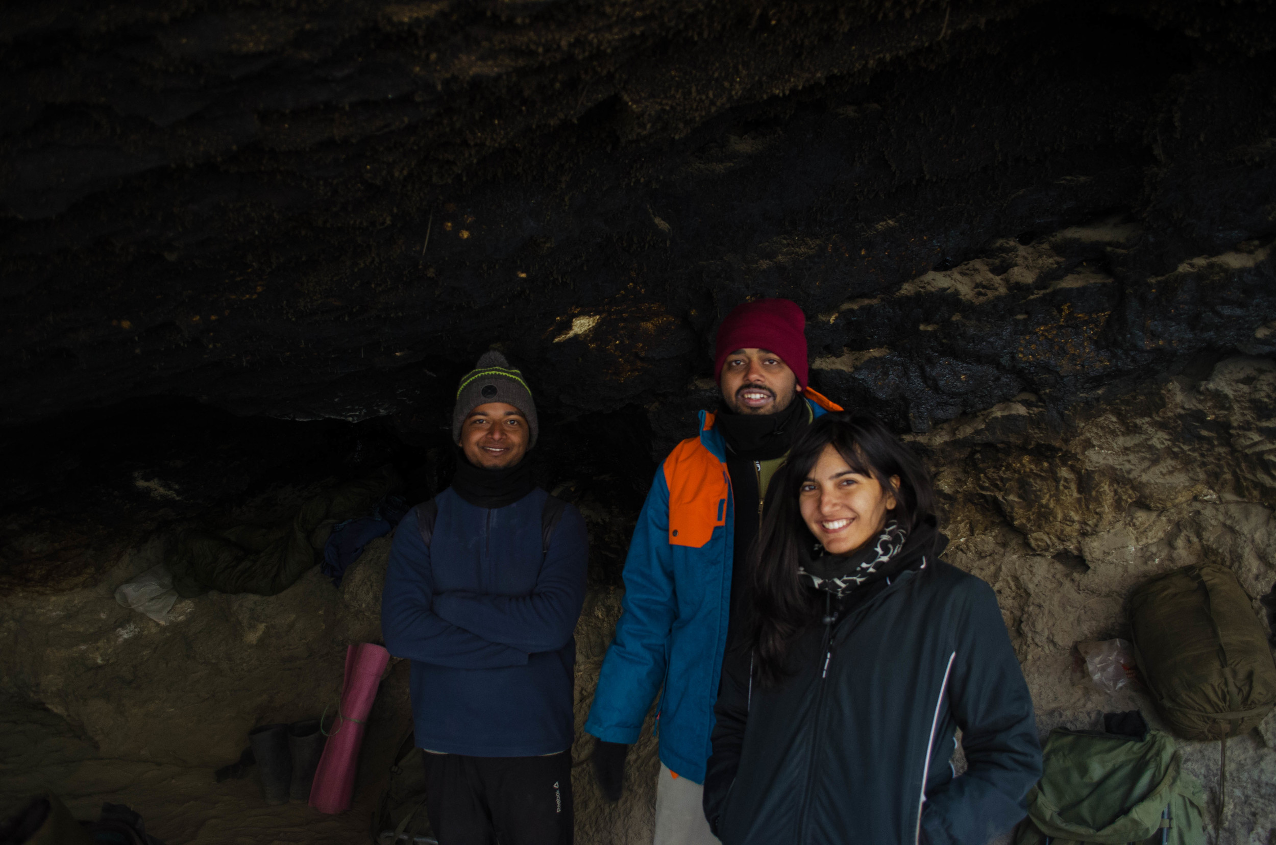 Huddled in the legendary Tibb cave for a photo-opp. PC: Raunak