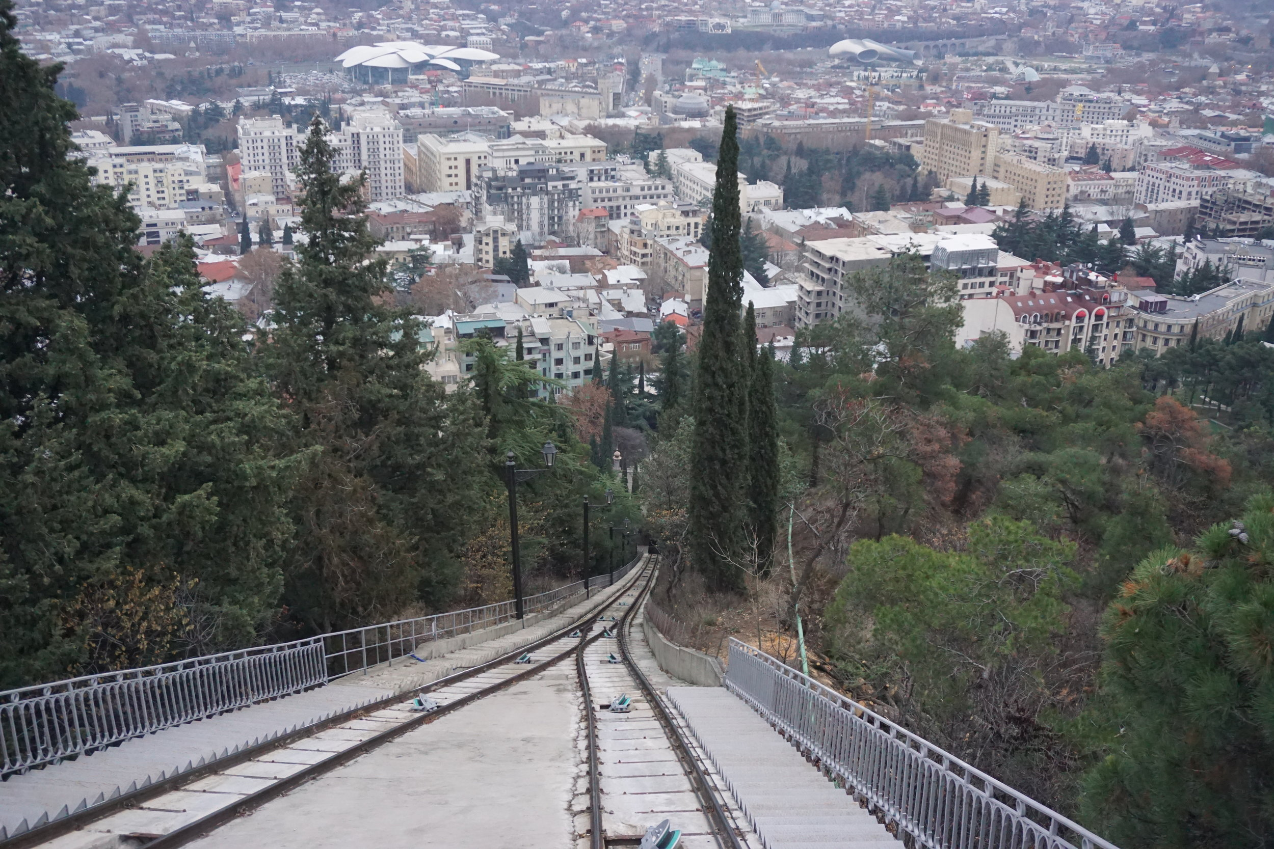 A bird's eye view of tbilisi from the train up to Mtasminda in Georgia