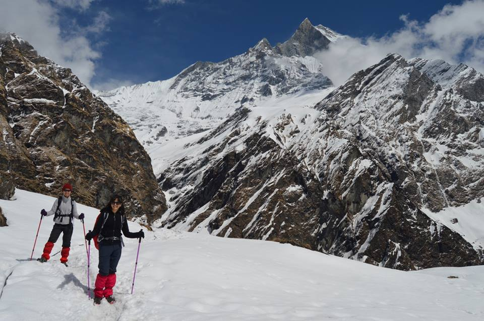 hiking towards the annapurna base camp