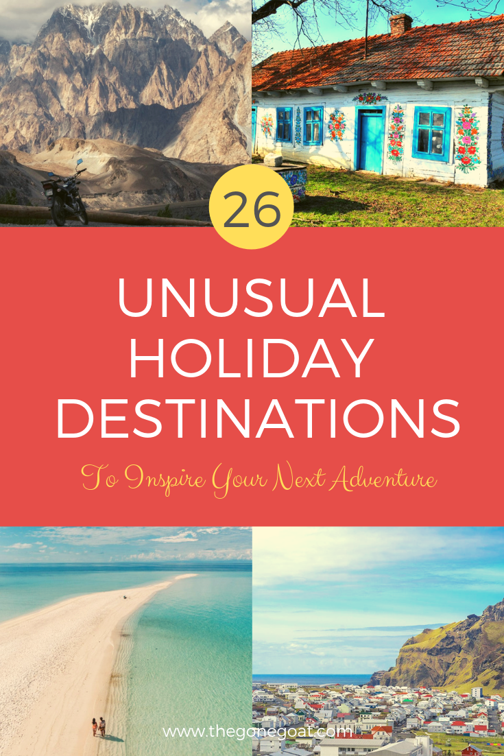 The world may be conquered but these unusual holiday destinations and remote places where there are no crowds in sight may inspire your next adventure and feed your soul. #TravelDestinations #UniqueDestinations #Bucketlists #Europe #Asia #America #Holiday #Travel