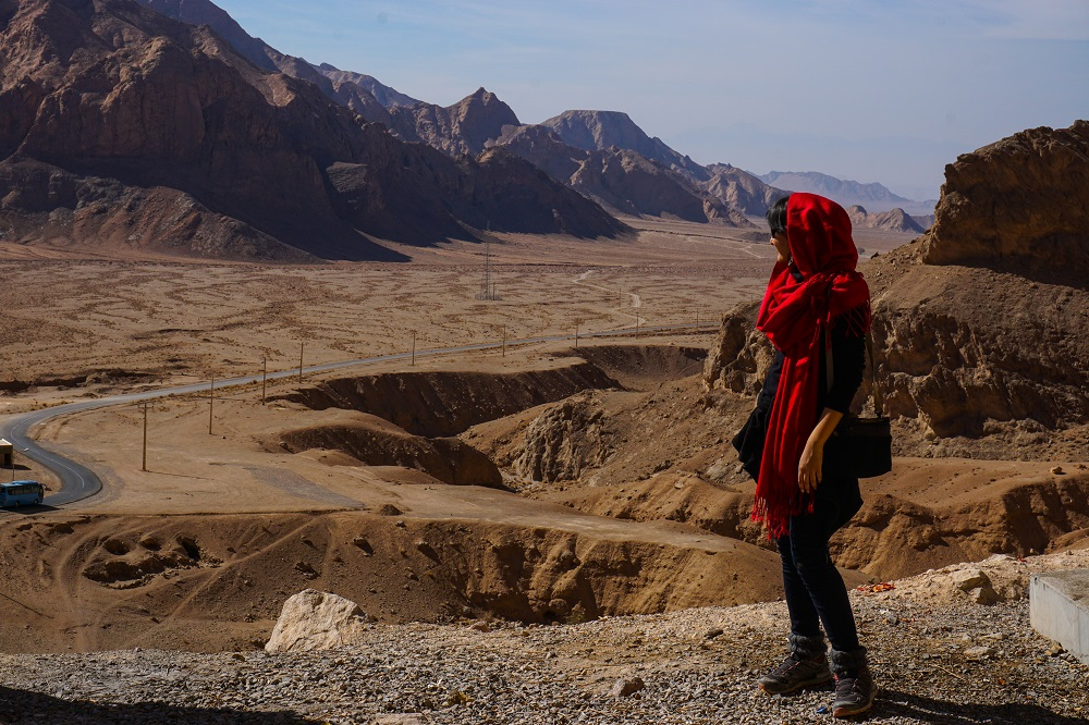 Looking out on iran's labyrinth of highways.