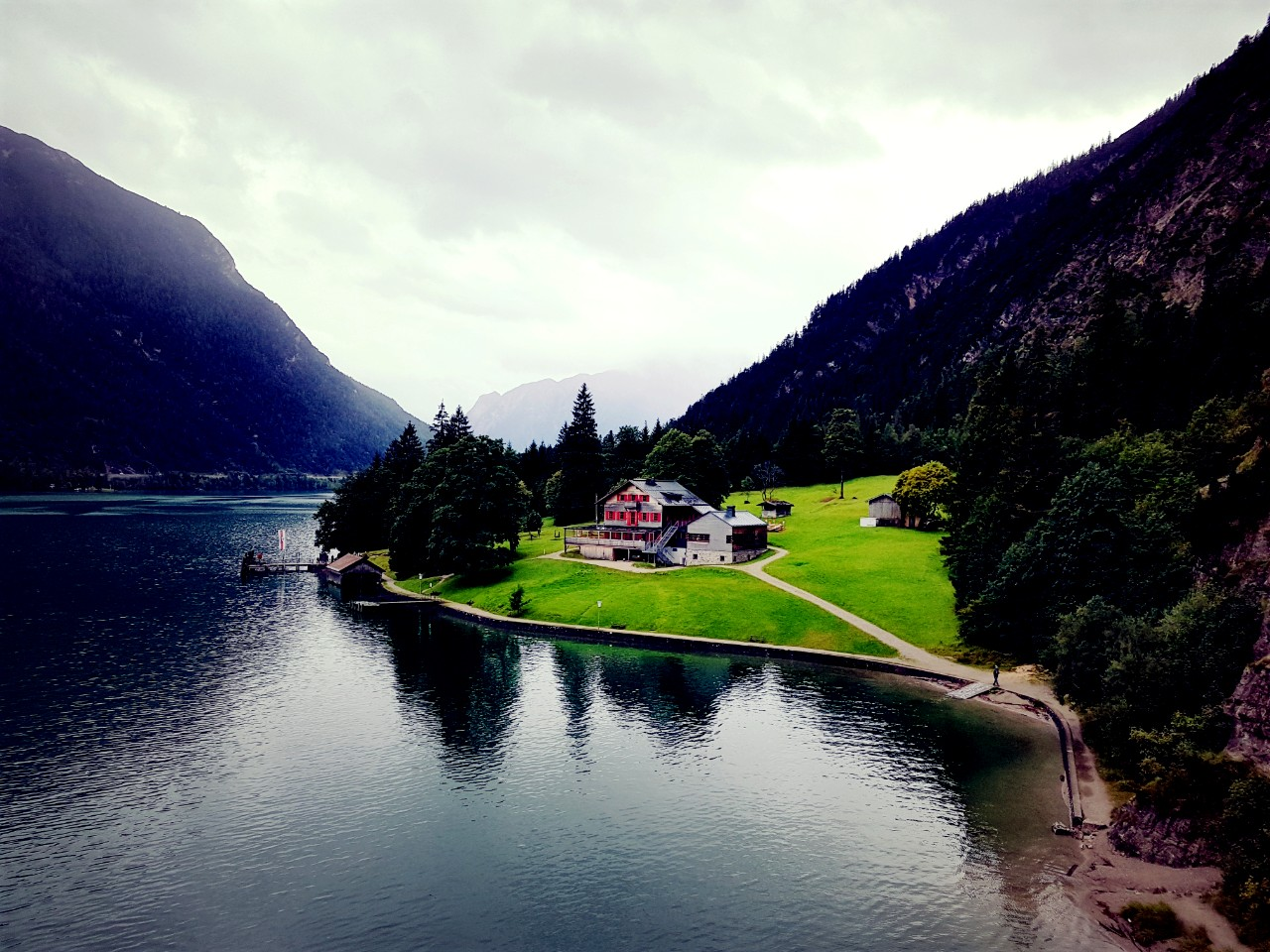 """Lake Achen is the largest Alpine lake in the Austrian Tyrol, and sometimes called the """"Fjord of the Alps""""."""