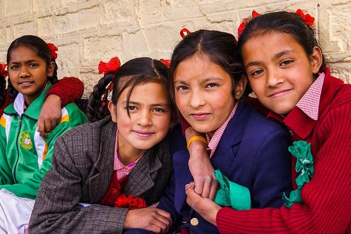 Photogenic himalayan children in sangla village