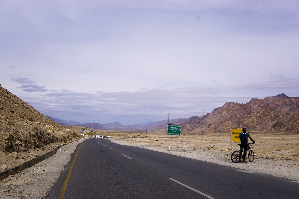 On the Leh to Srinagar highway during our bike and road trip in Ladakh.