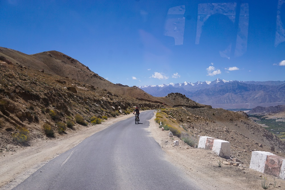 The Stok range in the background as we cycled through the highest motorable road in Ladakh on a road trip.