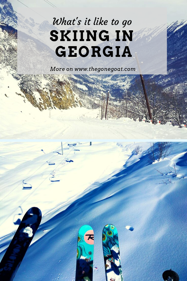Miles and miles of powder and the highest ridges in Europe; skiing in Georgia, whether it is Gudauri or Mestia is a heaven for skiers and adventure enthusiasts who do not simply want to pay the high prices of skiing in the Alps. Here's what's it like to go skiing in Georgia. #skiing #georgia #caucasus #traveldestinations #europe #budgettravel #solotravel #travelideas