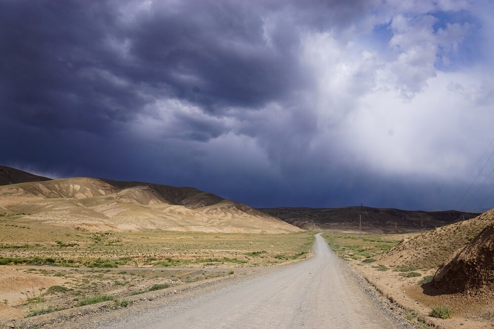 The start of my cycling or bicycle touring trip in Central Asia, along the silk route.