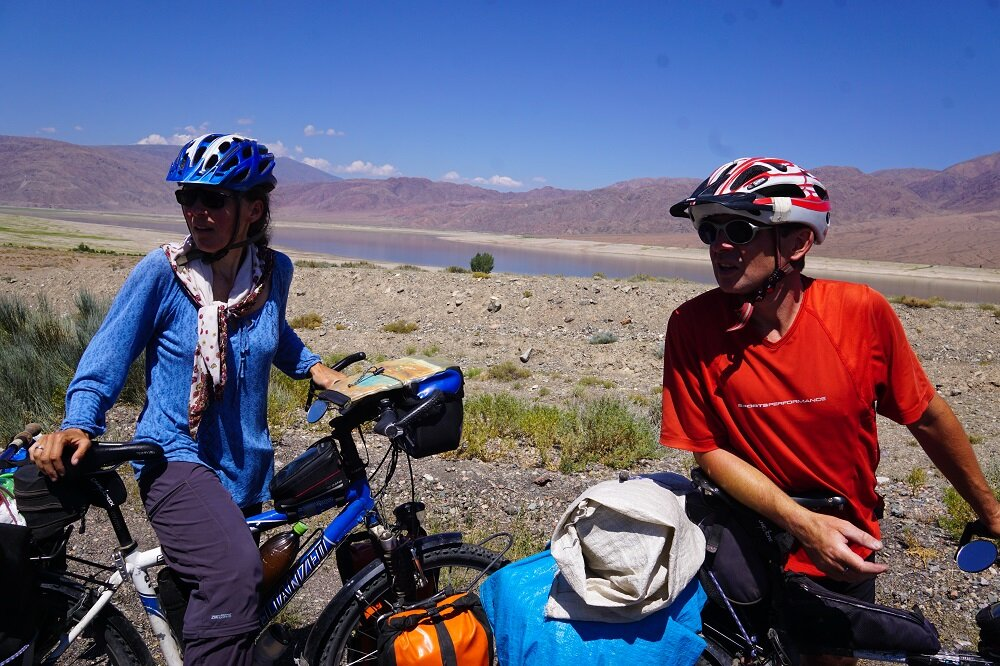 Two German cyclists on their way towards Issyk-Kul